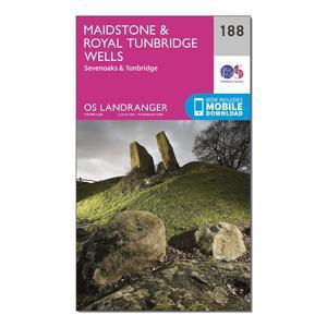 ORDNANCE SURVEY Landranger 188 Maidstone & Royal Tunbridge Wells Map With Digital Version
