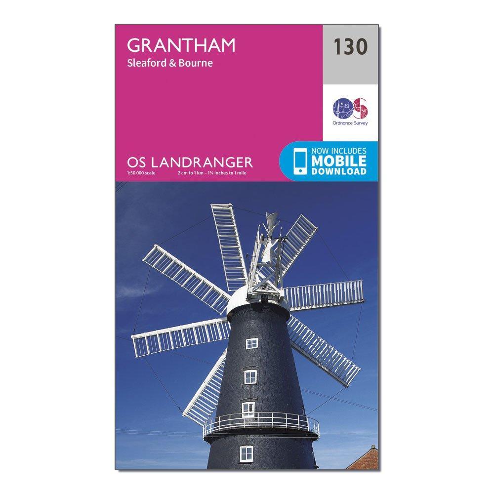 Ordnance Survey Landranger 130 Grantham  SleafordandBourne Map With Digital Version - Pink/d  Pink/d