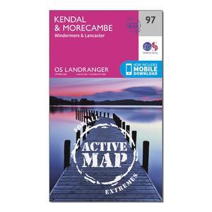 ORDNANCE SURVEY Landranger Active 97 Kendal, Morecambe, Windermere & Lancaster Map With Digital Version