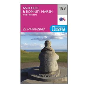 ORDNANCE SURVEY Landranger 189 Ashford & Romney Marsh, Rye & Folkestone Map With Digital Version