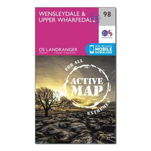 ORDNANCE SURVEY Landranger Active 98 Wensleydale & Upper Wharfedale Map With Digital Version