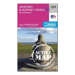 ORDNANCE SURVEY Landranger Active 189 Ashford & Romney Marsh, Rye & Folkestone Map With Digital Version