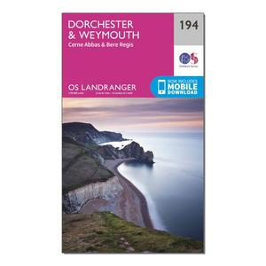 ORDNANCE SURVEY Landranger 194 Dorchester & Weymouth, Cerne Abbas & Bere Regis Map With Digital Version