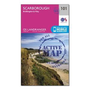 ORDNANCE SURVEY Landranger Active 101 Scarborough, Bridlington & Filey Map With Digital Version