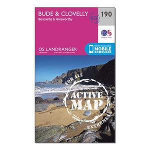 ORDNANCE SURVEY Landranger Active 190 Bude & Clovelly, Boscastle & Holsworthy Map With Digital Version