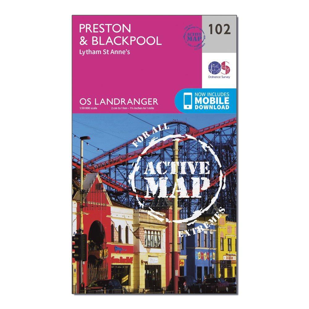 Ordnance Survey Landranger Active 102 PrestonandBlackpool  Lytham Map With Digital Version - Pink/d  Pink/d