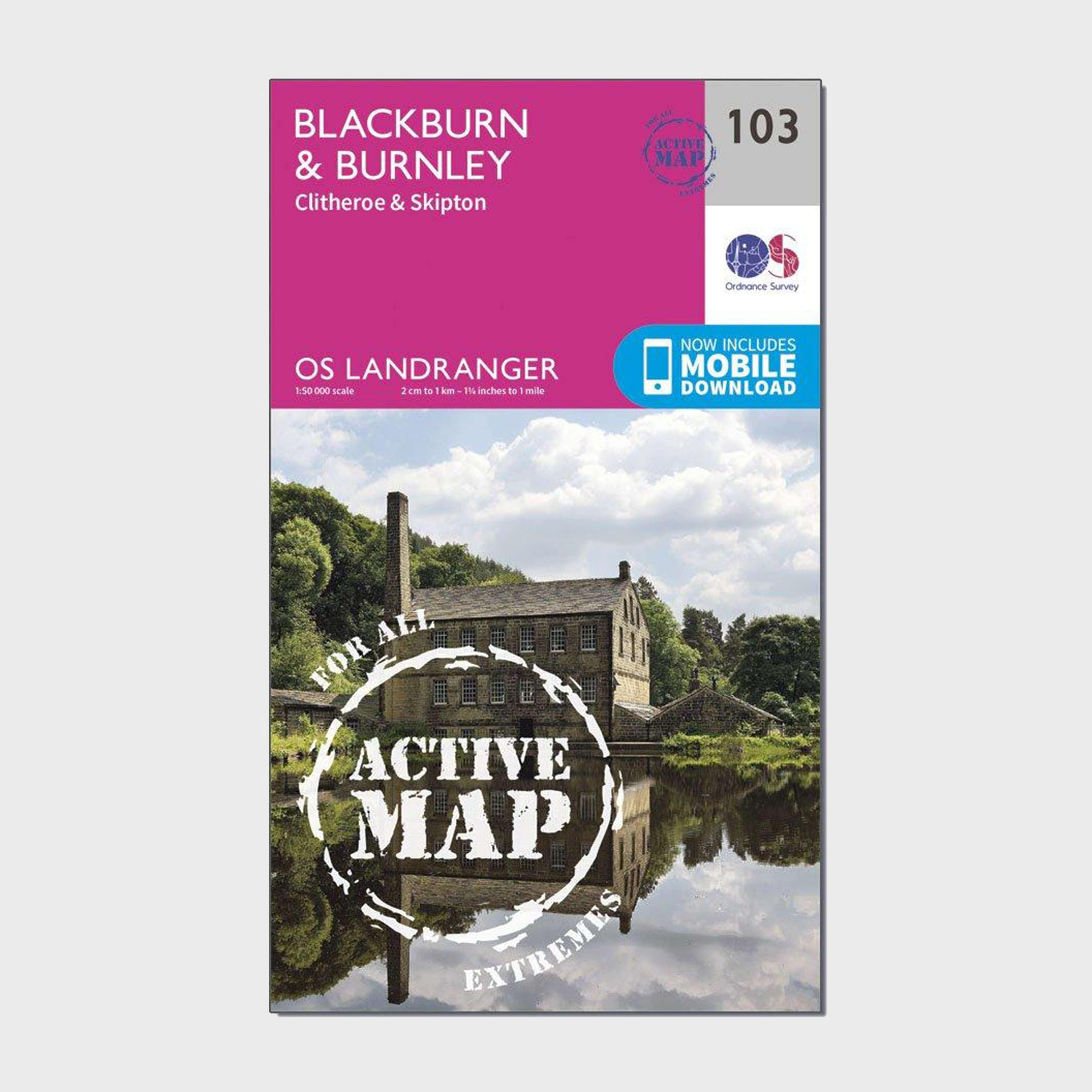 ORDNANCE SURVEY Landranger Active 103 Blackburn & Burnley, Clitheroe & Skipton Map With Digital Version