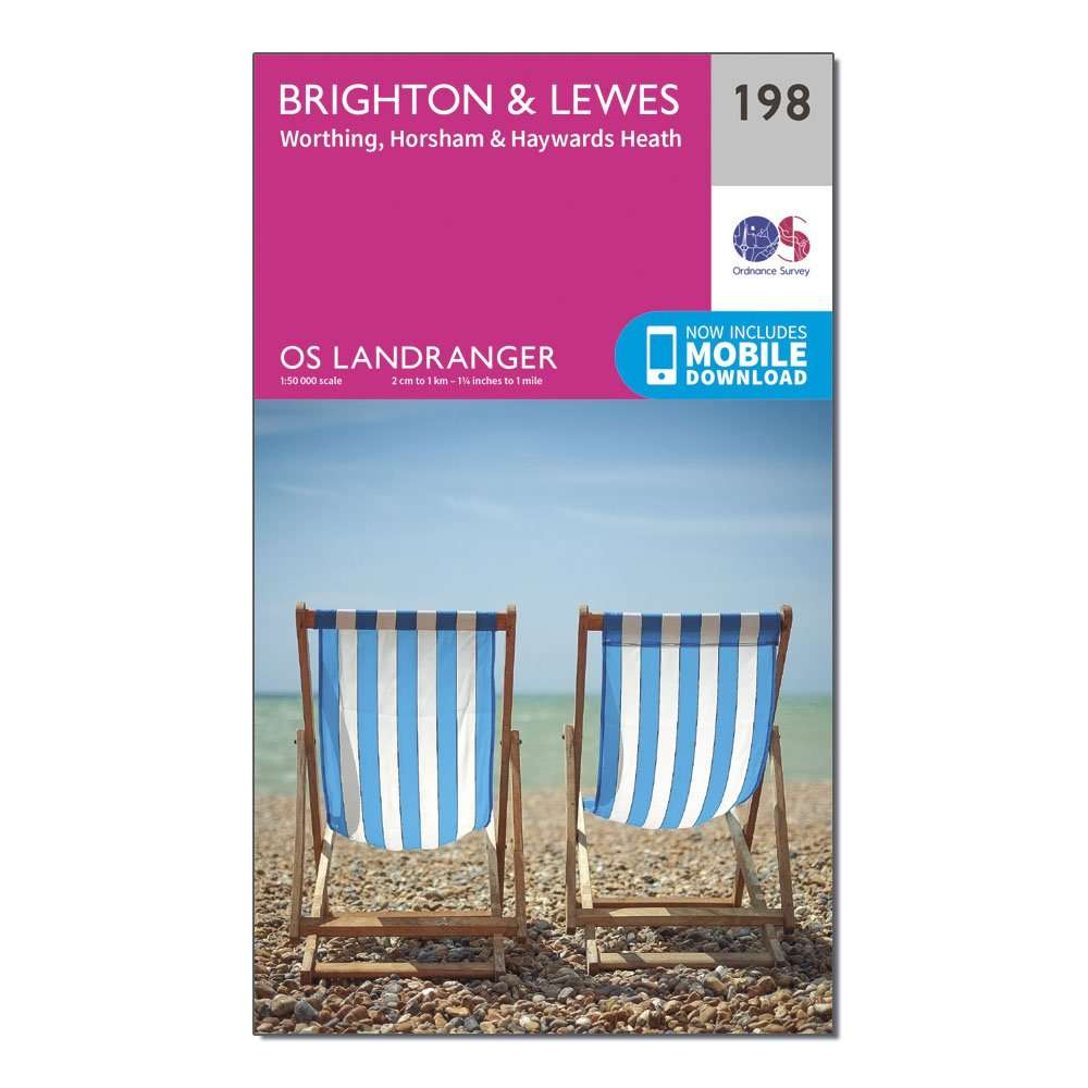 ORDNANCE SURVEY Landranger 198 Brighton & Lewes, Haywards Heath Map With Digital Version