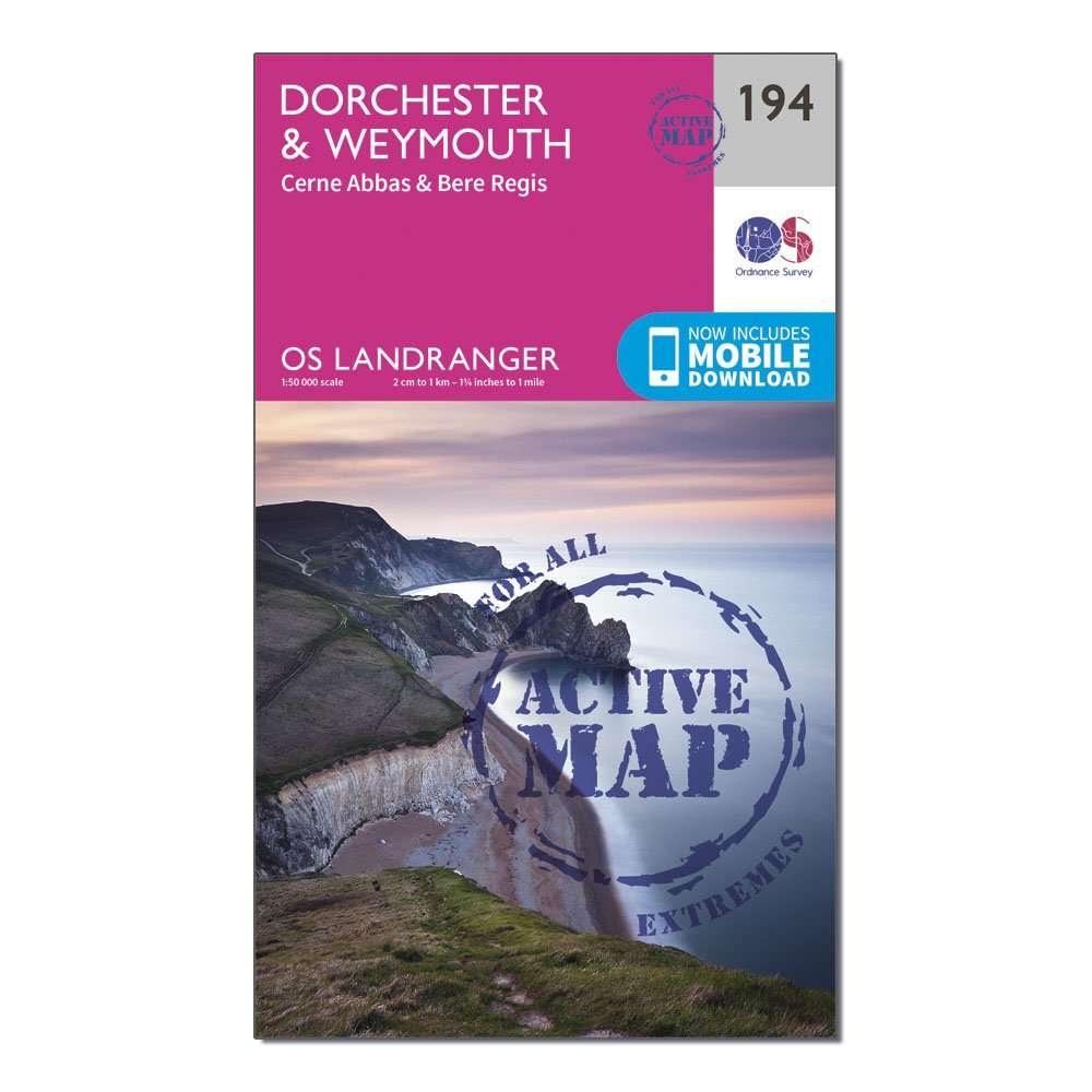 ORDNANCE SURVEY Landranger Active 194 Dorchester & Weymouth, Cerne Abbas & Bere Regis Map With Digital Version