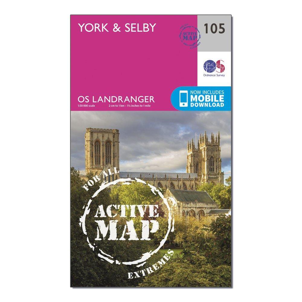 Ordnance Survey Landranger Active 105 YorkandSelby Map With Digital Version - Pink/d  Pink/d