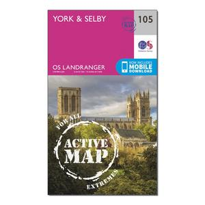 ORDNANCE SURVEY Landranger Active 105 York & Selby Map With Digital Version