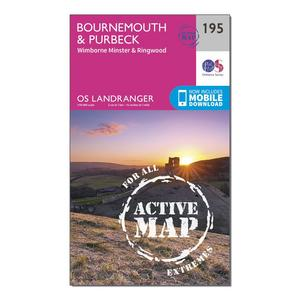 ORDNANCE SURVEY Landranger Active 195 Bournemouth & Purbeck, Wimborne Minster & Ringwood Map With Digital Version