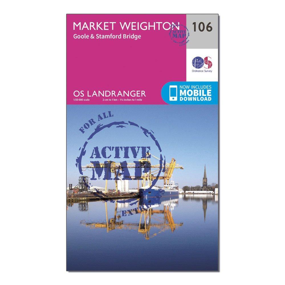 Ordnance Survey Landranger Active 106 Market Weighton  GooleandStamford Bridge Map With Digital Version - Pink/d  Pink/d