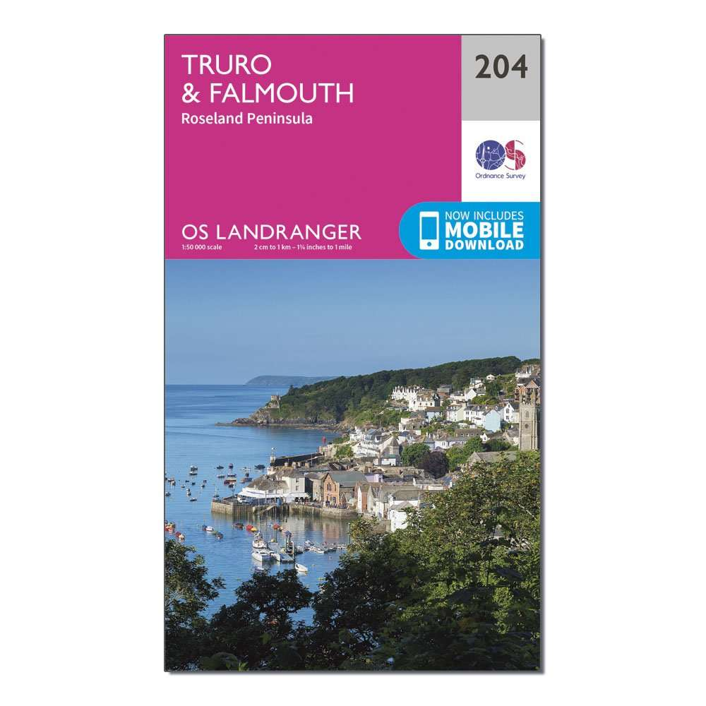 ORDNANCE SURVEY Landranger 204 Truro & Falmouth, Roseland Peninsula Map With Digital Version