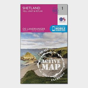 ORDNANCE SURVEY Landranger Active 1 - Shetland  Yell, Unst and Fetlar Map With Digital Version