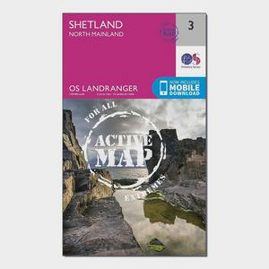 ORDNANCE SURVEY Landranger Active 3 Shetland  Sullom Voe & Whalsay Map With Digital Version