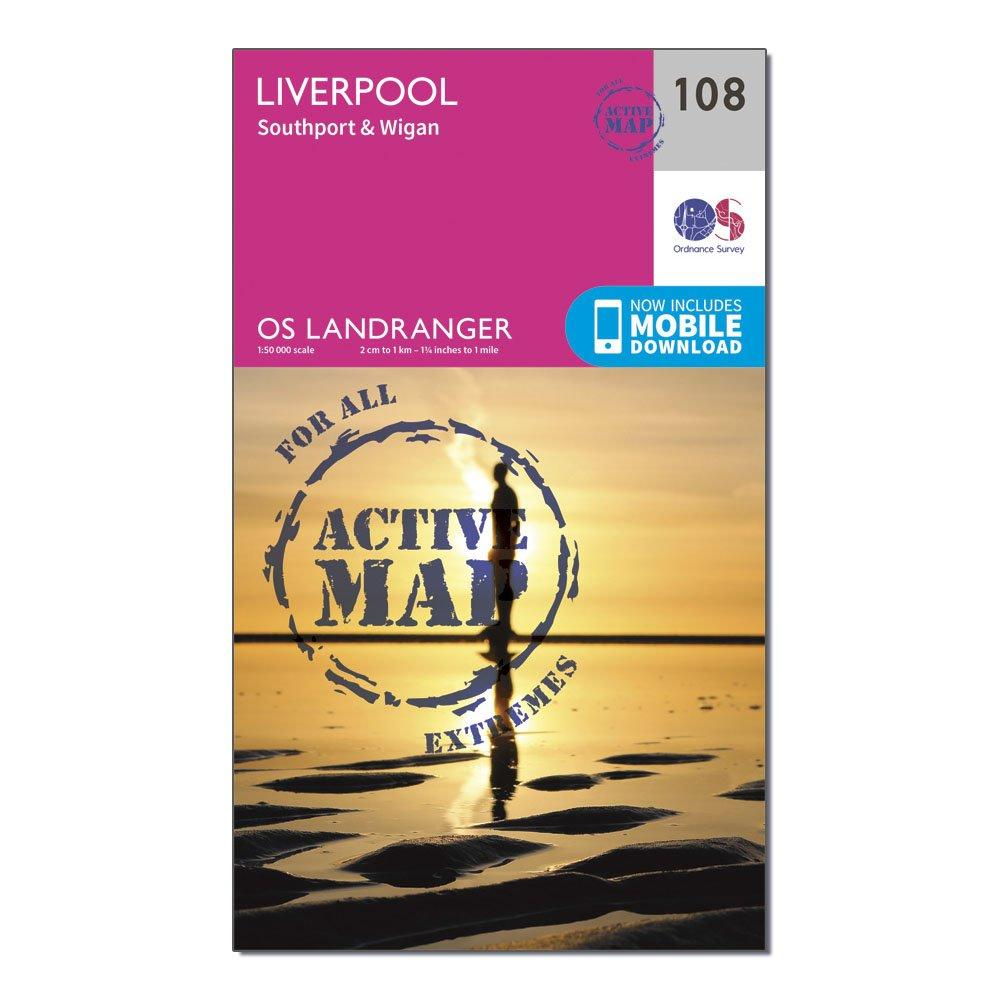 Ordnance Survey Landranger Active 108 Liverpool  SouthportandWigan Map With Digital Version - Pink/d  Pink/d