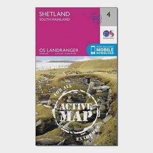 ORDNANCE SURVEY Landranger Active 4 Shetland  South Mainland Map With Digital Version