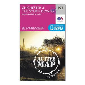 ORDNANCE SURVEY Landranger Active 197 Chichester & The South Downs Map With Digital Version