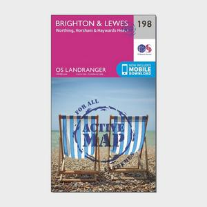 ORDNANCE SURVEY Landranger Active 198 Brighton & Lewes, Haywards Heath Map With Digital Version