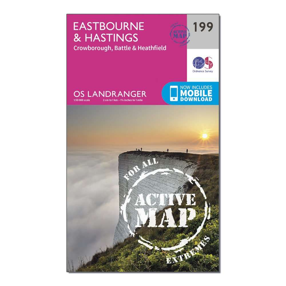 ORDNANCE SURVEY Landranger Active 199 Eastbourne & Hastings, Battle & Heathfield Map With Digital Version