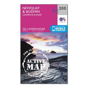 ORDNANCE SURVEY Landranger Active 200 Newquay, Bodmin, Camelford & St Austell Map With Digital Version