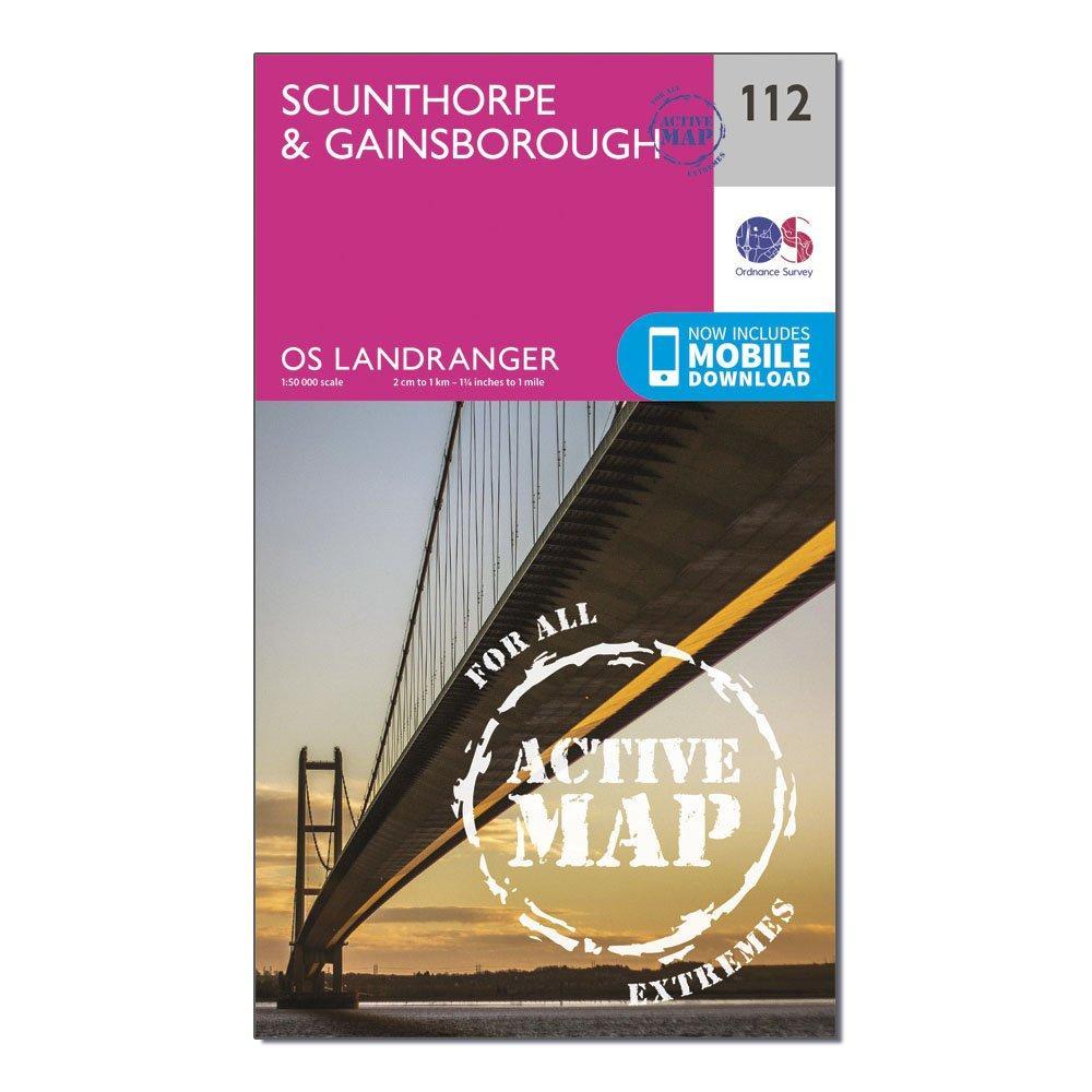 Ordnance Survey Landranger Active 112 ScunthorpeandGainsborough Map With Digital Version - Pink/d  Pink/d