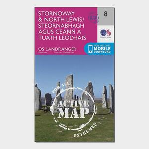 ORDNANCE SURVEY Landranger Active 8 Stornoway & North Lewis Map With Digital Version