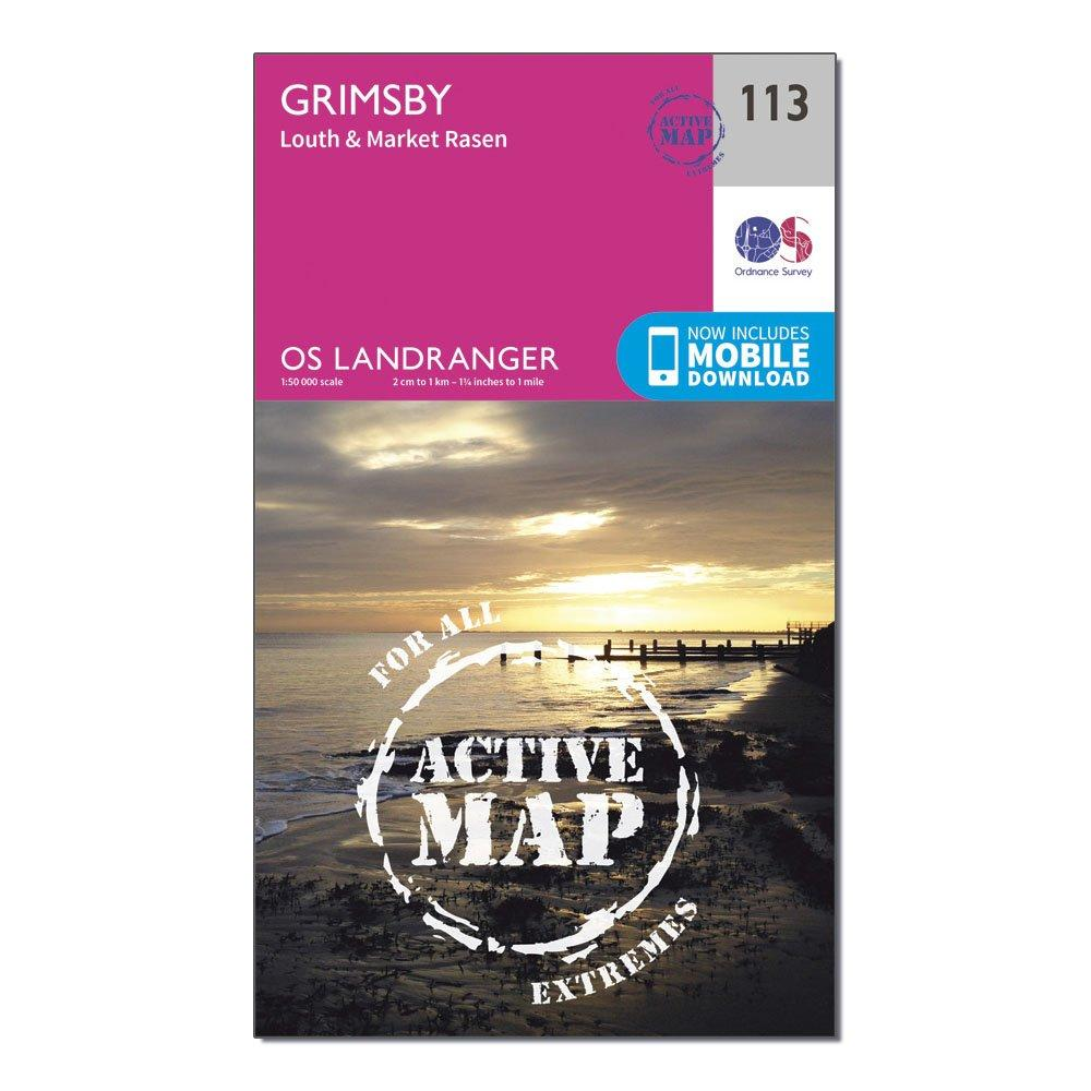 Ordnance Survey Landranger Active 113 Grimsby  LouthandMarket Rasen Map With Digital Version - Pink/d  Pink/d