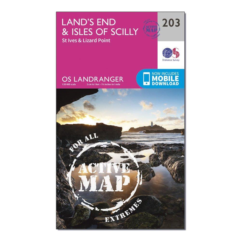 Ordnance Survey Landranger Active 203 Lands End  Isles Of Scilly  St IvesandLizard Point Map With Digital Version - Pink/d  Pink/d