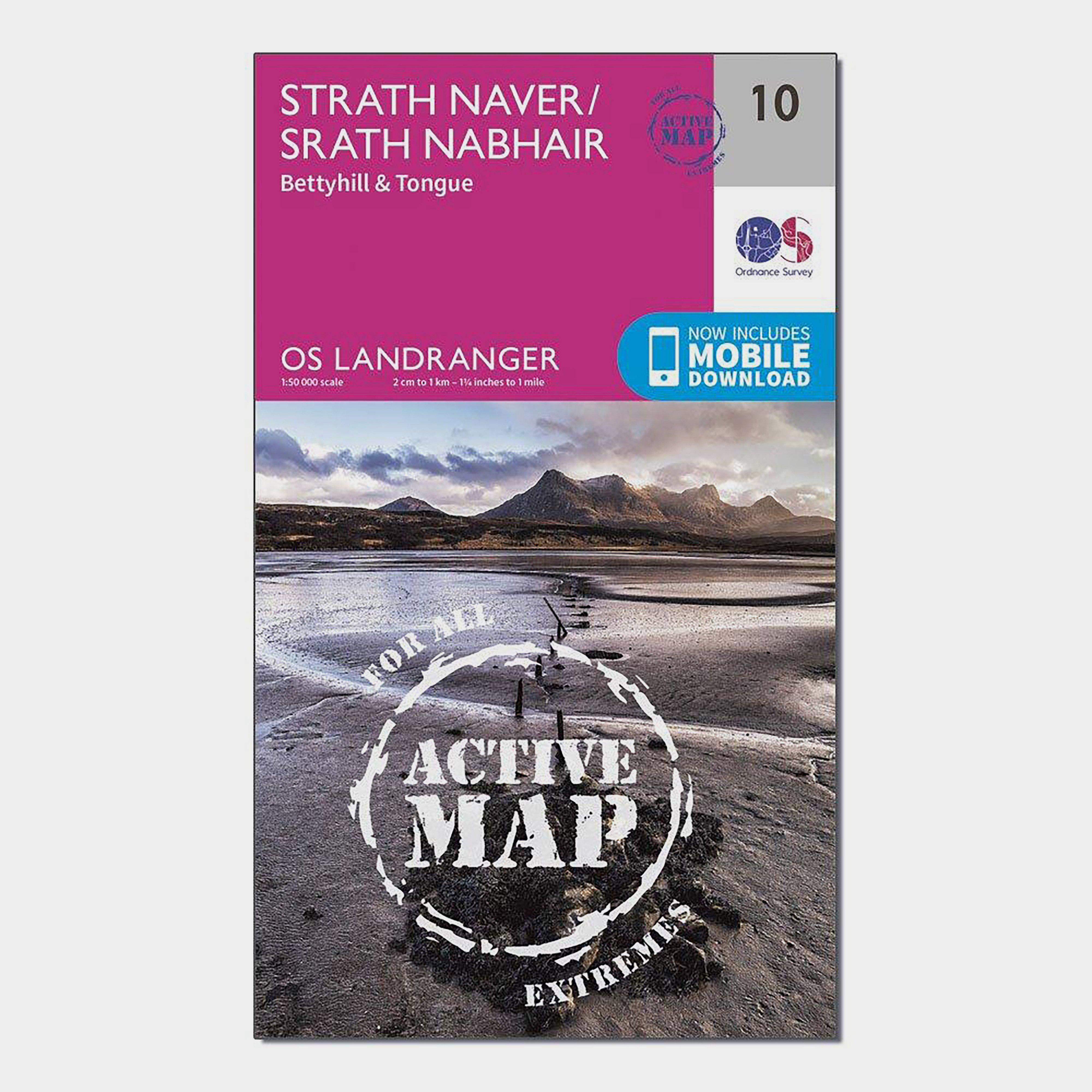 Ordnance Survey Landranger Active 10 Strathnaver  BettyhillandTongue Map With Digital Version - Pink/d  Pink/d