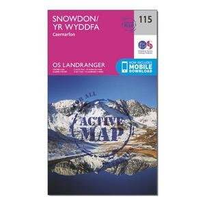 ORDNANCE SURVEY Landranger Active 115 Snowdon & Caernarfon Map With Digital Version