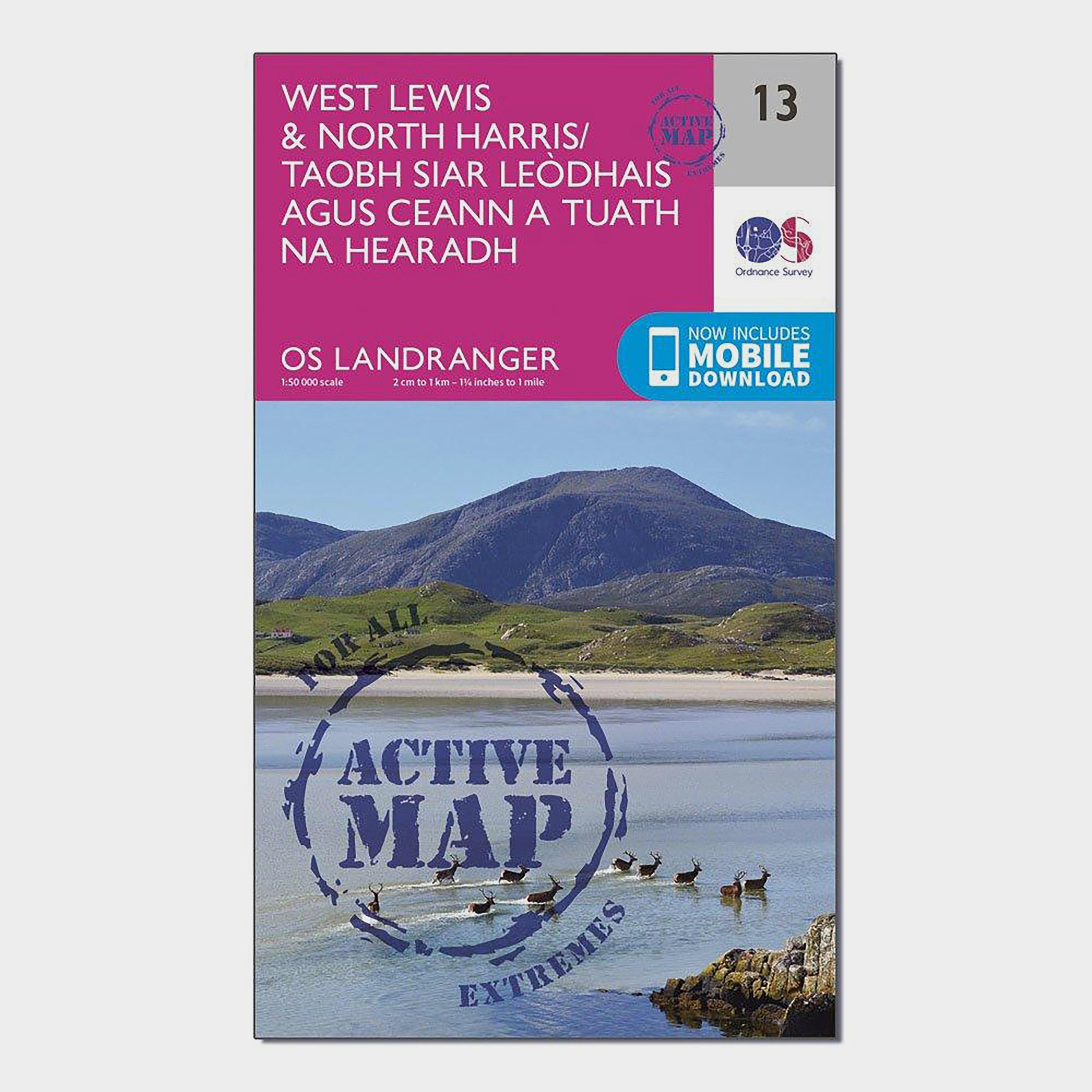 Ordnance Survey Landranger Active 13 West LewisandNorth Harris Map With Digital Version - Pink/d  Pink/d