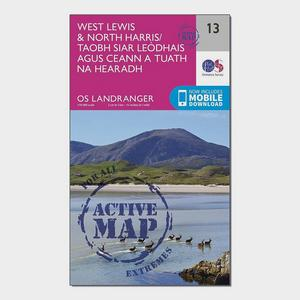 ORDNANCE SURVEY Landranger Active 13 West Lewis & North Harris Map With Digital Version