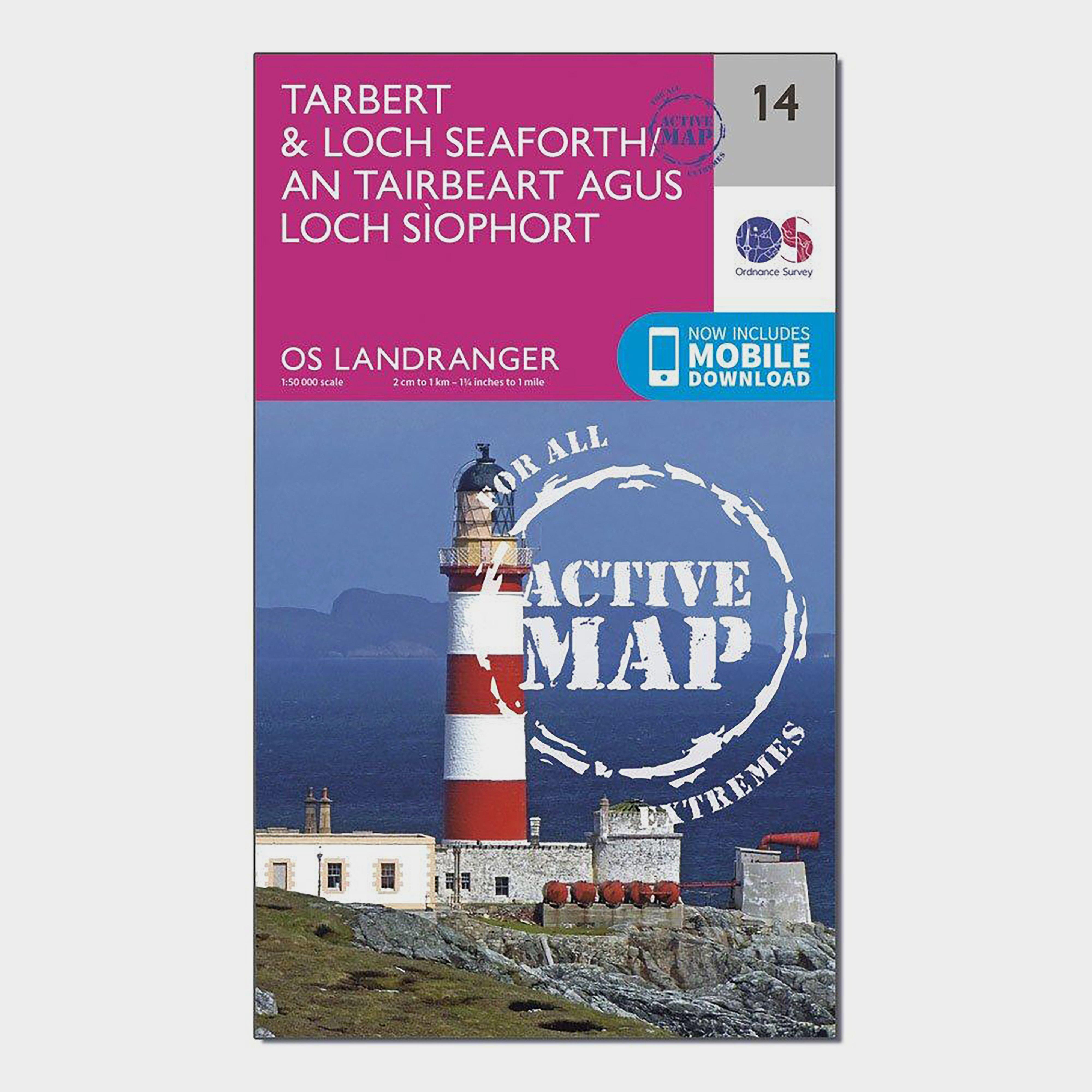 Ordnance Survey Landranger Active 14 TarbertandLoch Seaforth Map With Digital Version - Pink/d  Pink/d