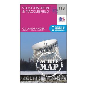 ORDNANCE SURVEY Landranger Active 118 Stoke-on-Trent & Macclesfield Map With Digital Version