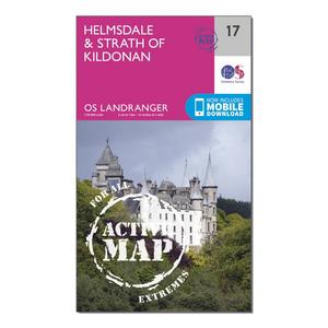 ORDNANCE SURVEY Landranger Active 17 Helmsdale & Strath of Kildonan Map With Digital Version