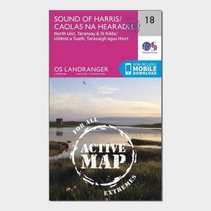 ORDNANCE SURVEY Landranger Active 18 Sound of Harris, North Uist, Taransay & St Kilda Map With Digital Version