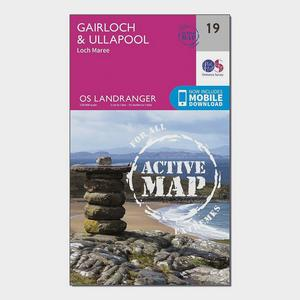 ORDNANCE SURVEY Landranger Active 19 Gairloch & Ullapool, Loch Maree Map With Digital Version