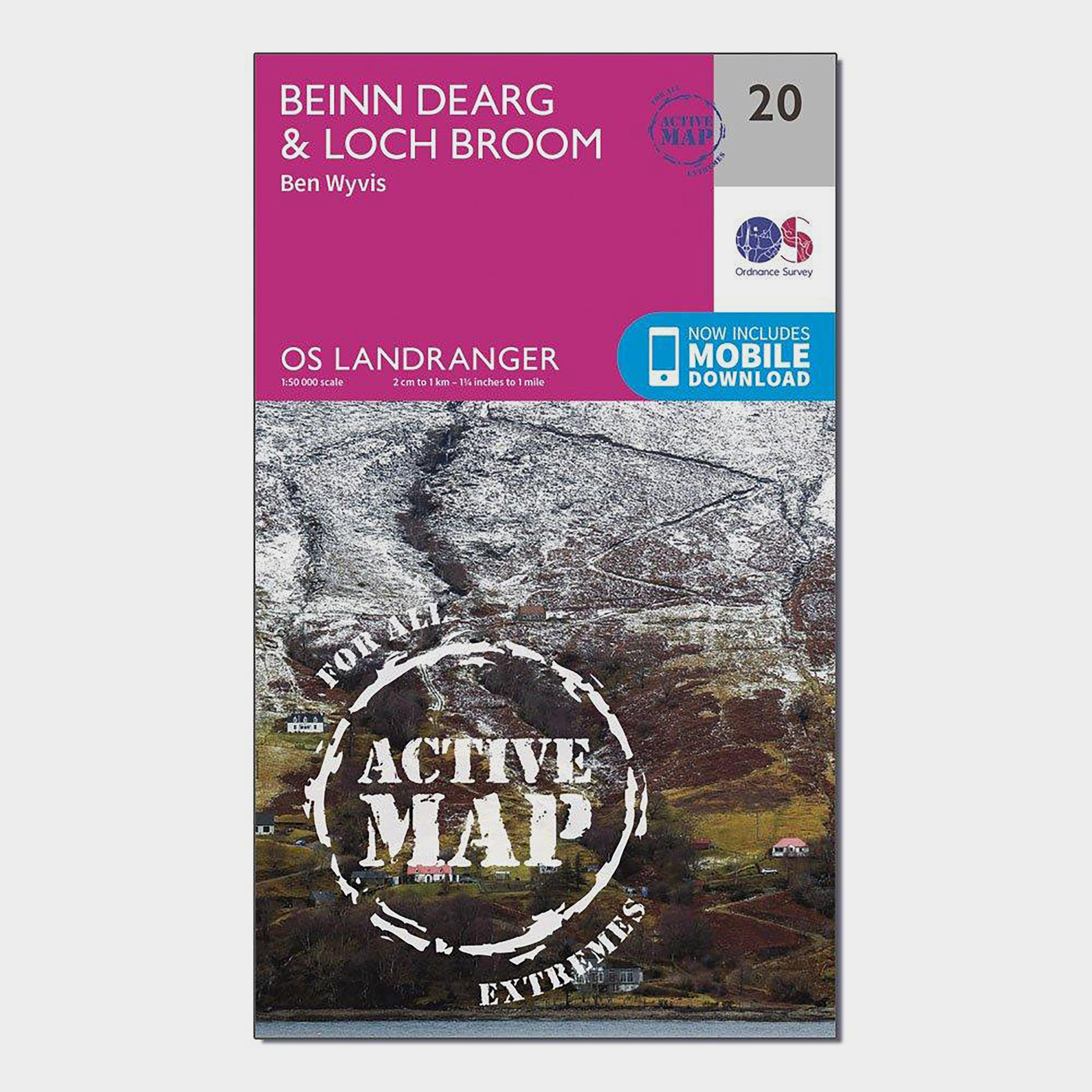 Ordnance Survey Landranger Active 20 Beinn DeargandLoch Broom Map With Digital Version - Pink/d  Pink/d