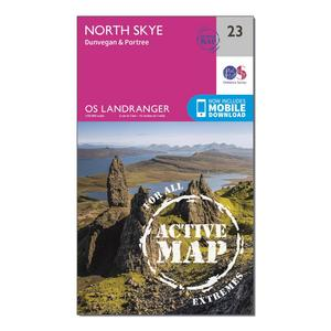 ORDNANCE SURVEY Landranger Active 23 North Skye, Dunvegan & Portree Map With Digital Version