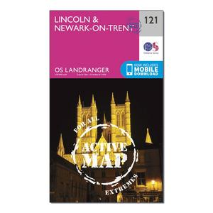 ORDNANCE SURVEY Landranger Active 121 Lincoln & Newark-on-Trent Map With Digital Version