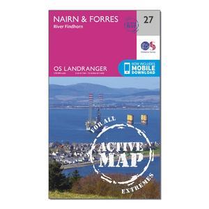 ORDNANCE SURVEY Landranger Active 27 Nairn & Forres, River Findhorn Map With Digital Version