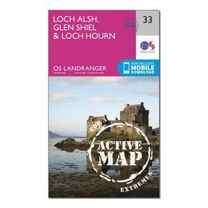 ORDNANCE SURVEY Landranger Active 33 Loch Alsh, Glen Shiel & Loch Hourn Map With Digital Version