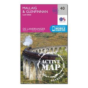 ORDNANCE SURVEY Landranger Active 40 Mallaig & Glenfinnan, Loch Shiel Map With Digital Version