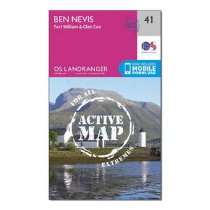 ORDNANCE SURVEY Landranger Active 41 Ben Nevis, Fort William & Glen Coe Map With Digital Version
