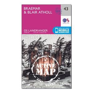 ORDNANCE SURVEY Landranger Active 43 Braemar & Blair Atholl Map With Digital Version