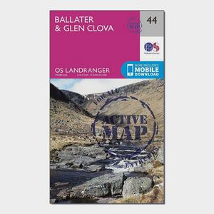 ORDNANCE SURVEY Landranger Active 44 Ballater & Glen Clova Map With Digital Version