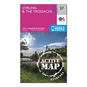 ORDNANCE SURVEY Landranger Active 57 Stirling & The Trossachs Map With Digital Version