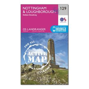 ORDNANCE SURVEY Landranger Active 129 Nottingham & Loughborough, Melton Mowbray Map With Digital Version